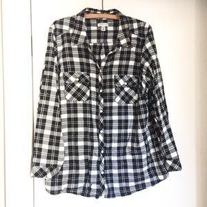 Women's Plus Size Flannel Shirt Black & White 2X